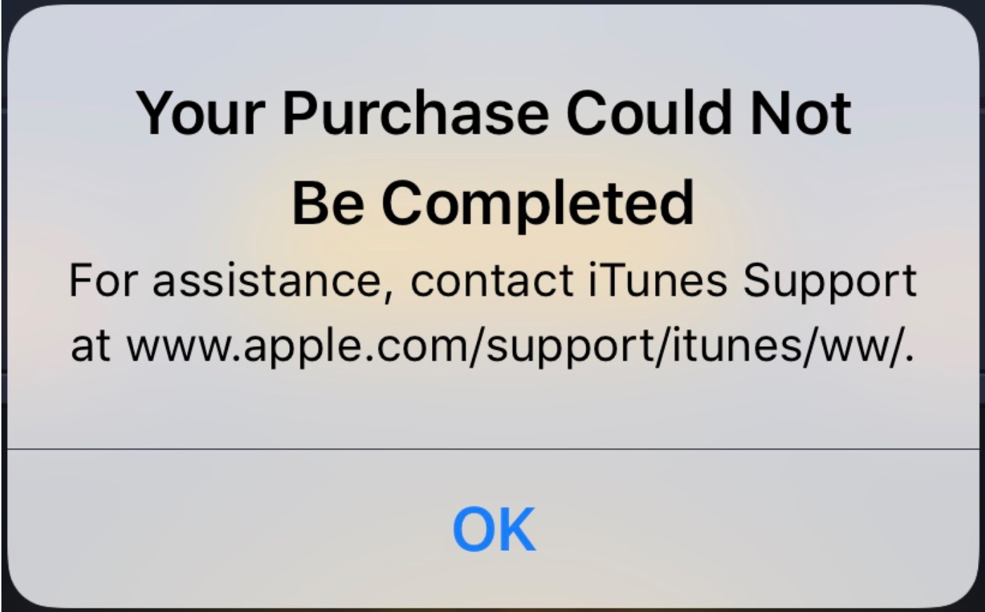 Your Purchase Could Not Be Completed Message