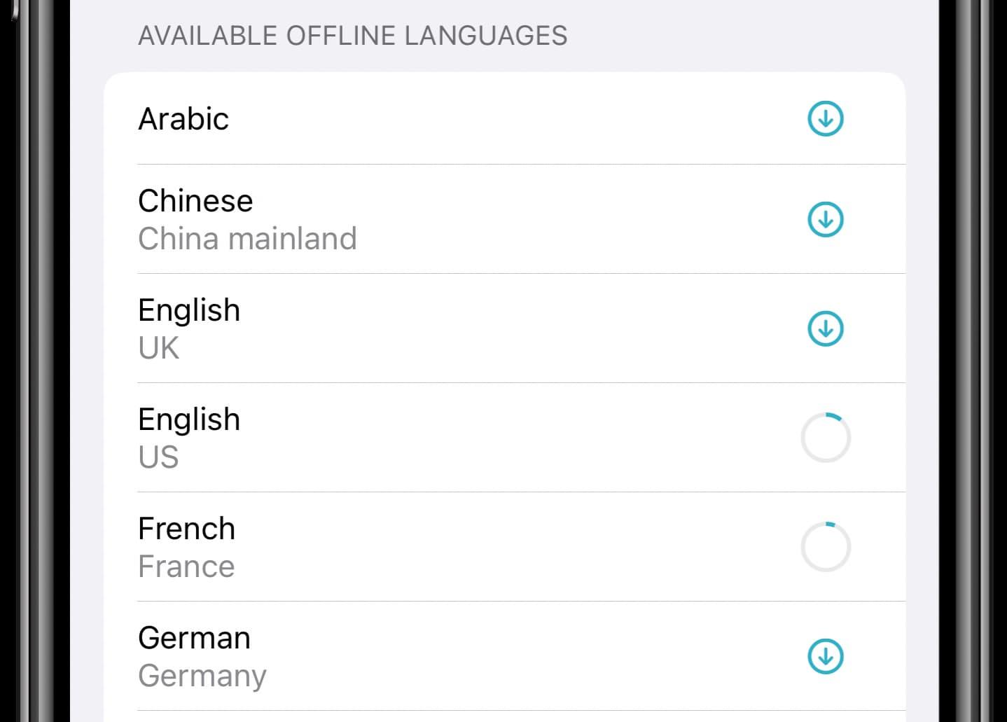 Download languages Apple Translate app - iPhone screenshot