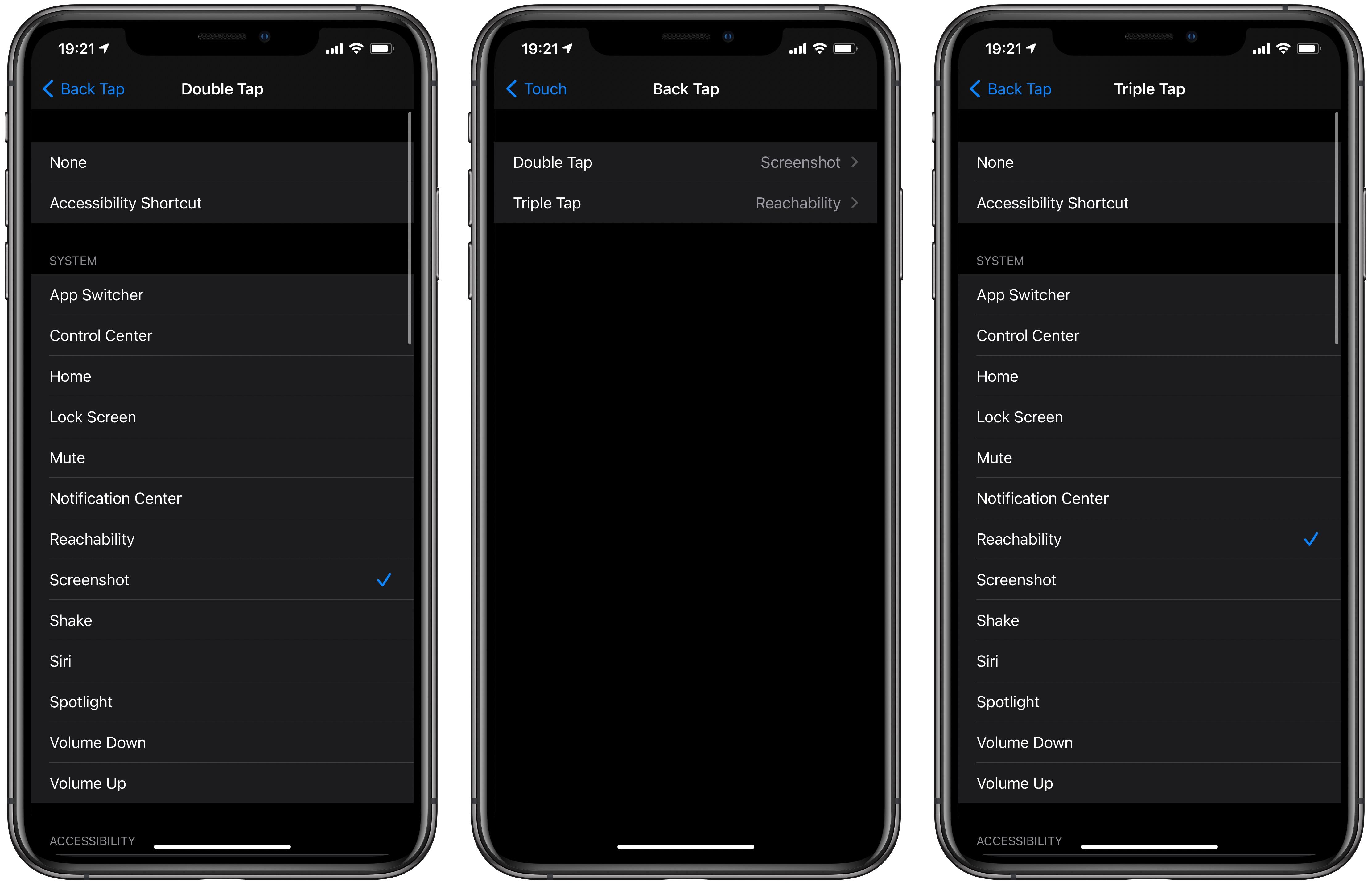 Custom iPhone actions Back Tap - settings