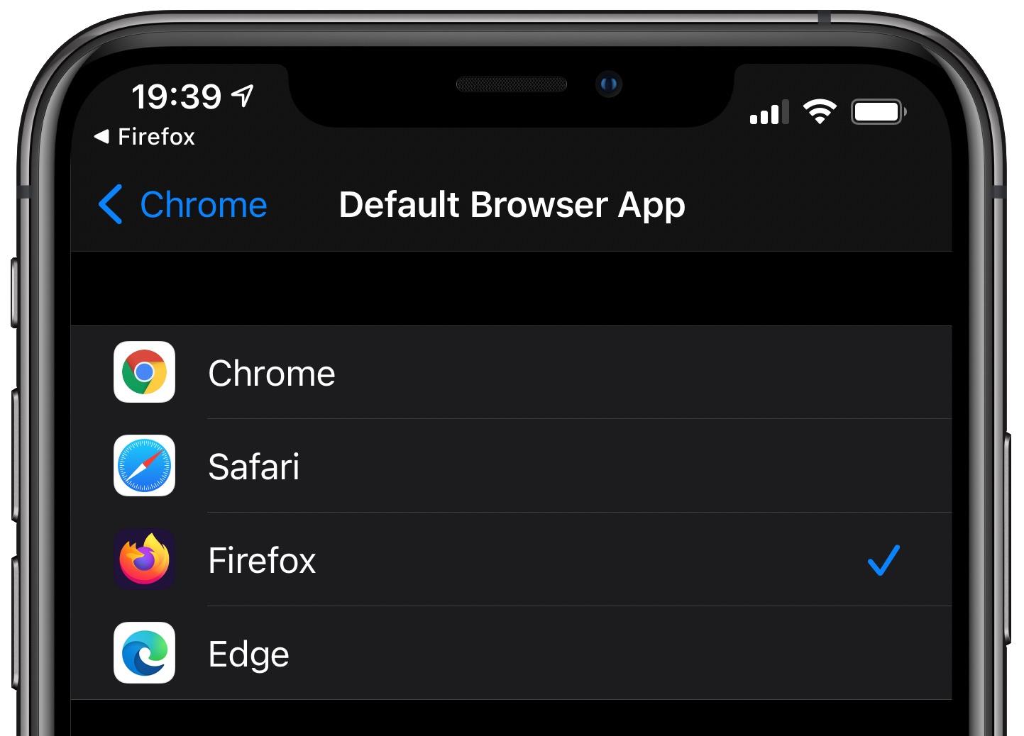 change default web browser iPhone ipad