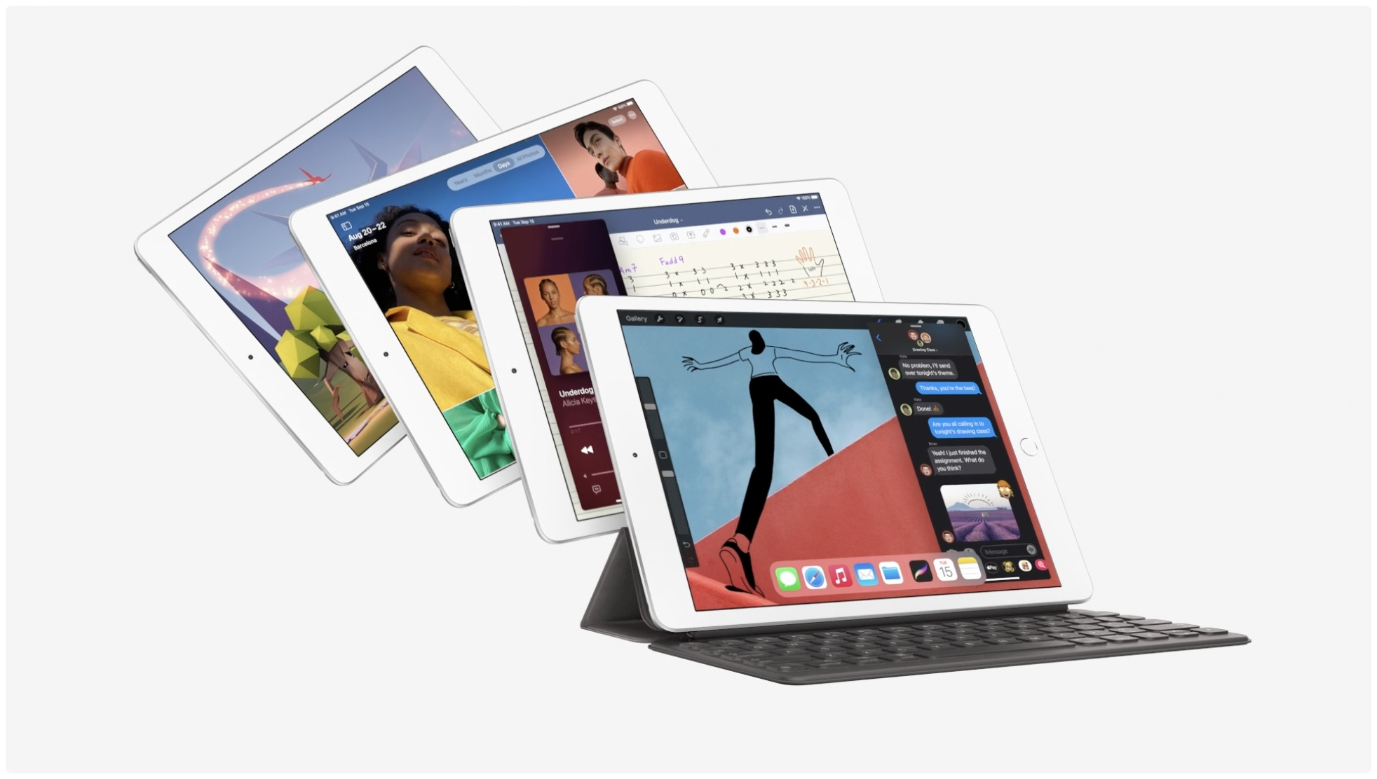 Apple promotional image showing eighth-generation budget iPad with Smart Keyboard