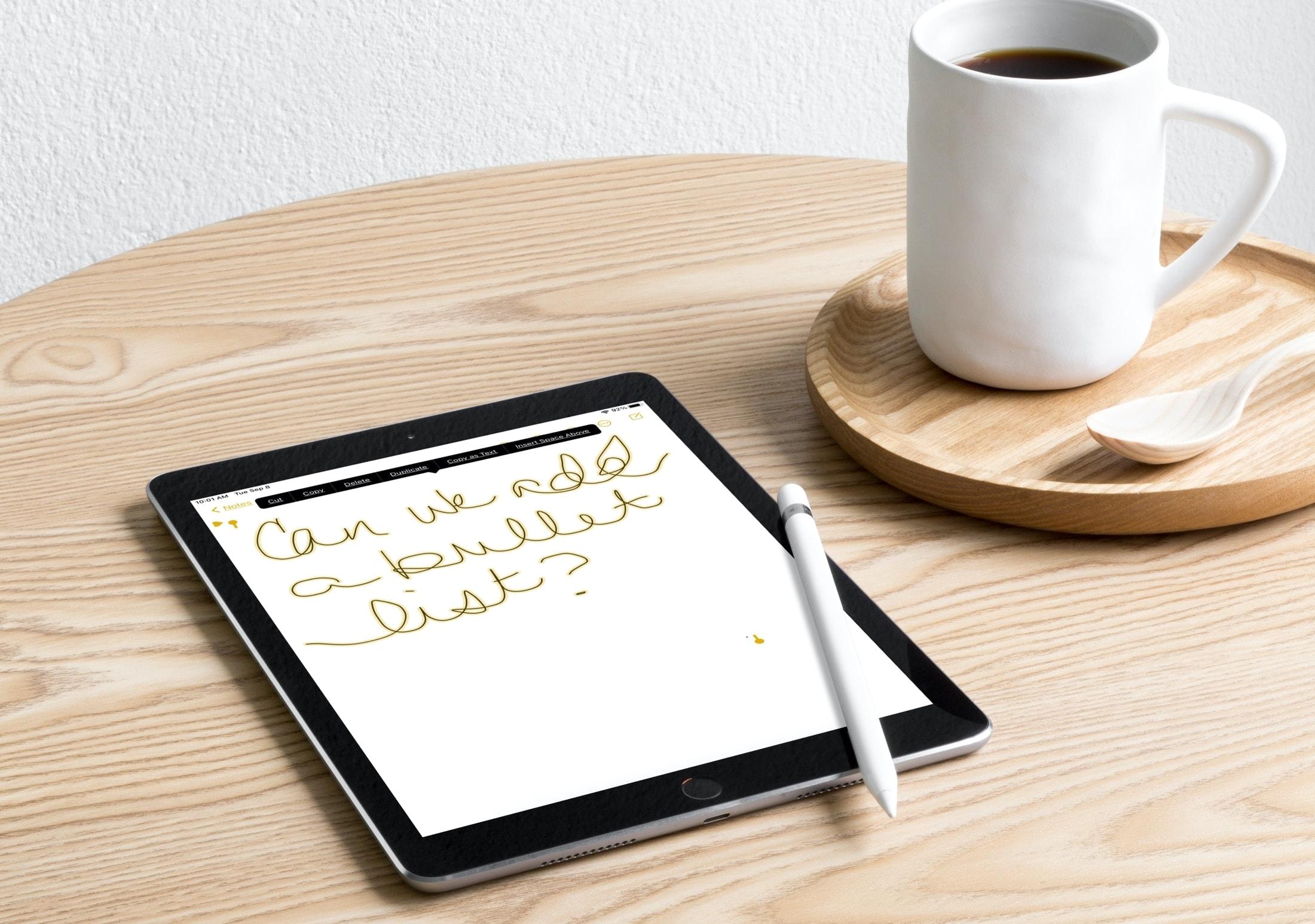 iPadOS 14 Notes Copy Paste Handwritten Text