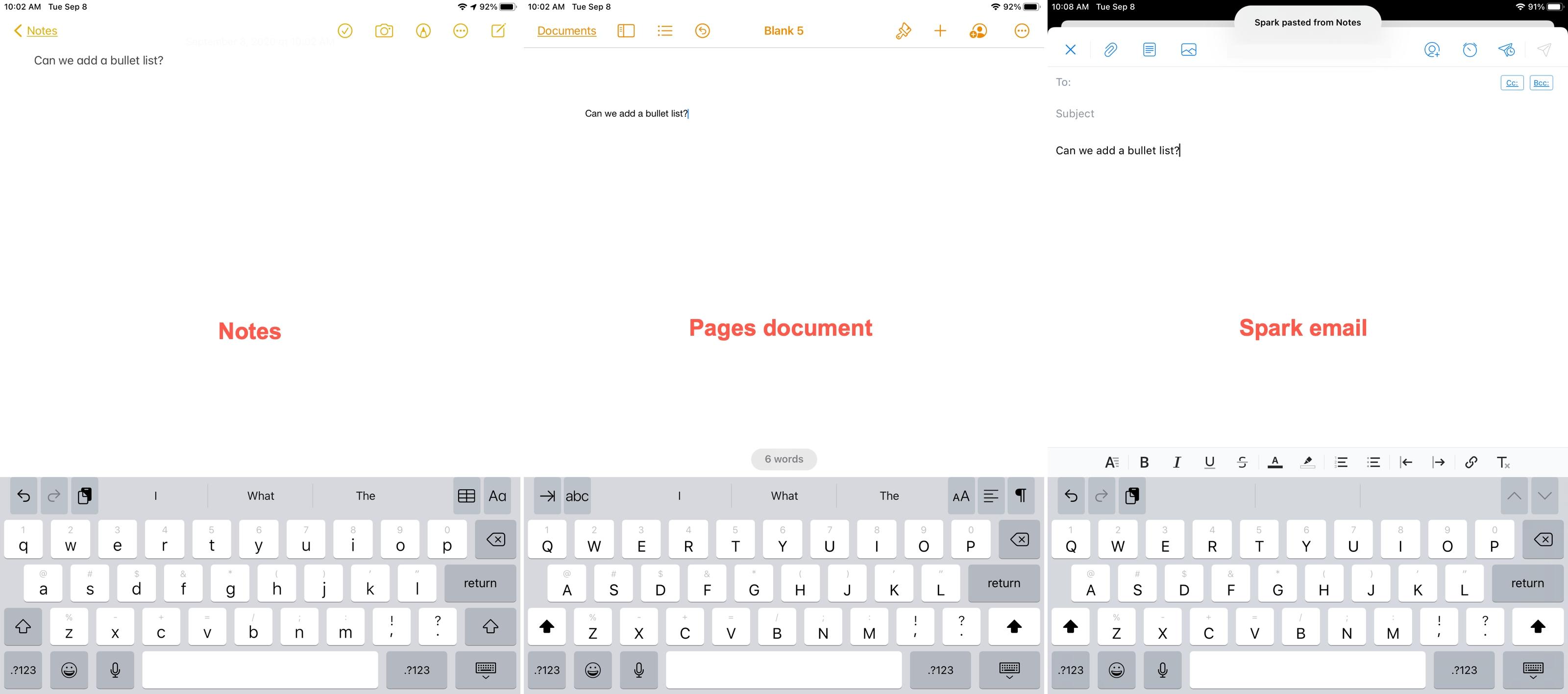 iPadOS 14 Notes Paste as Text