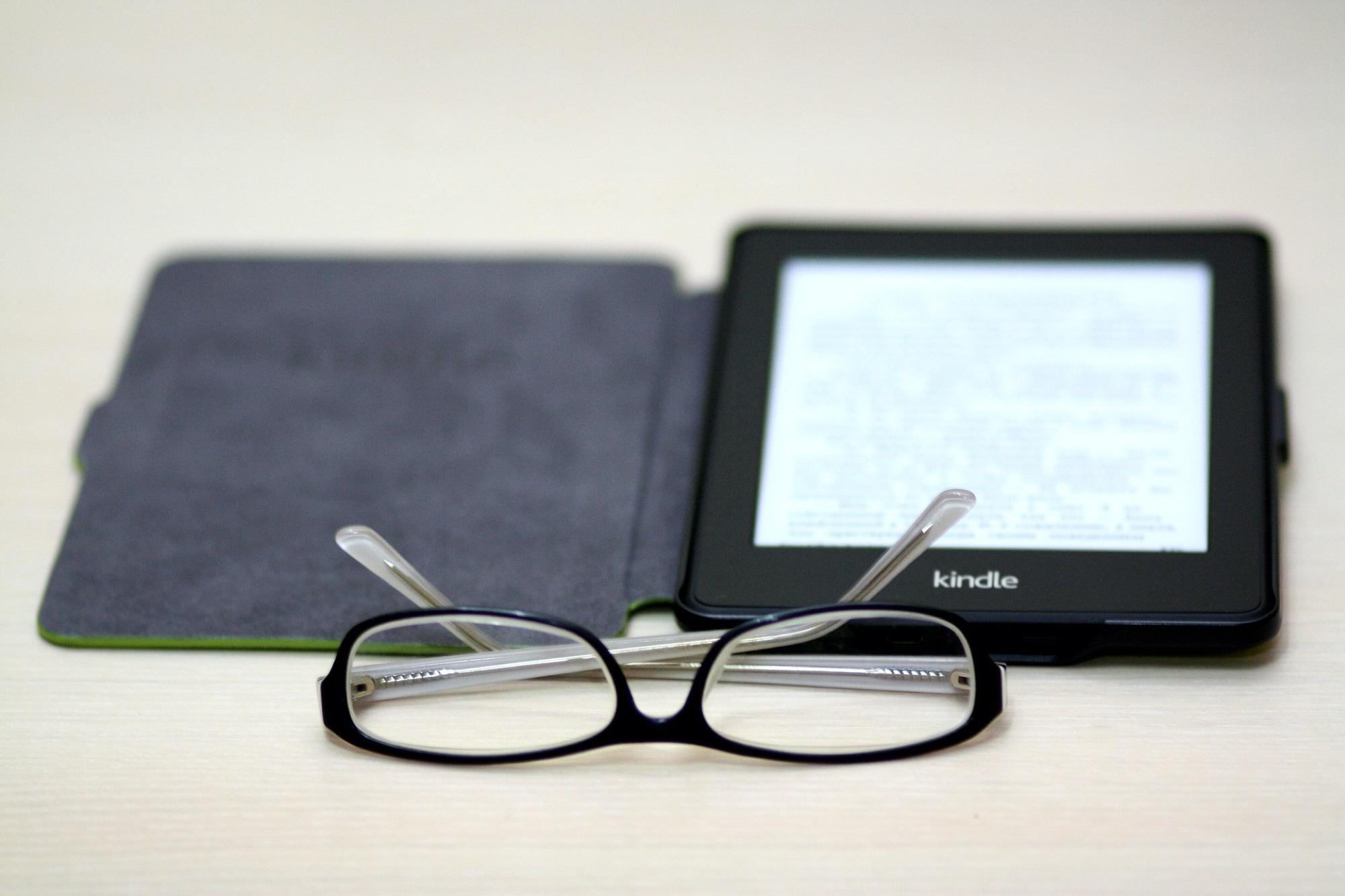 Amazon Kindle with Reading Glasses
