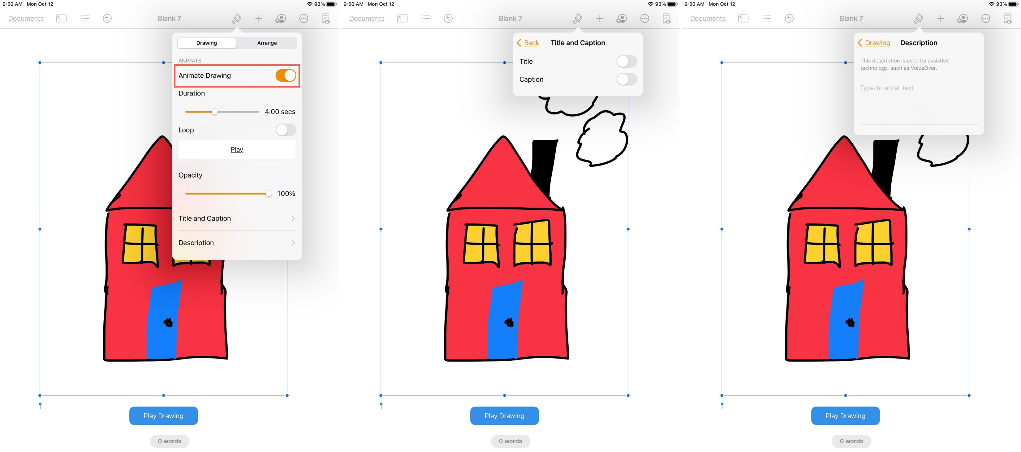 Animate a Drawing in Pages on iPad