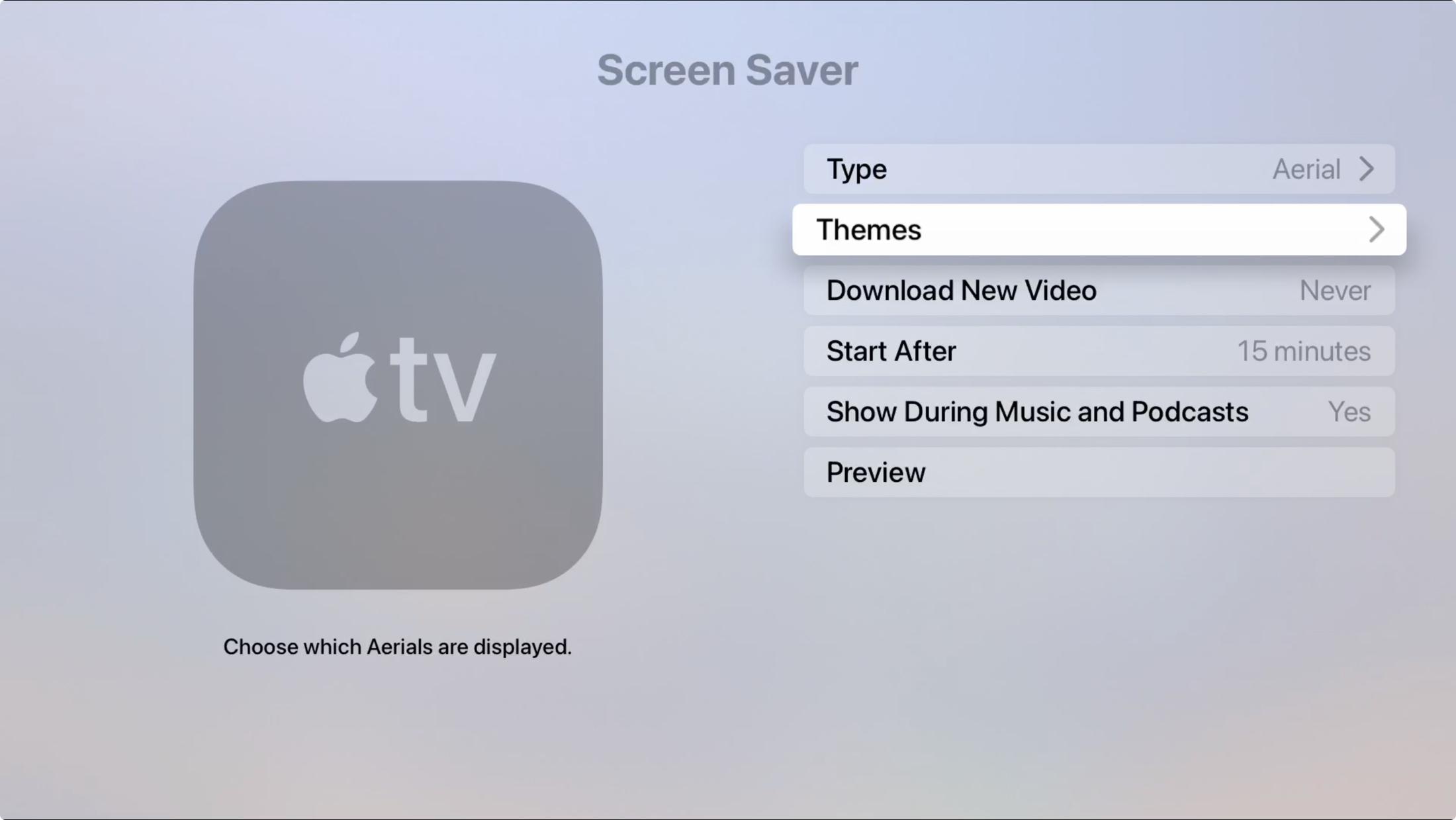 Apple TV Screen Saver Choose Theme