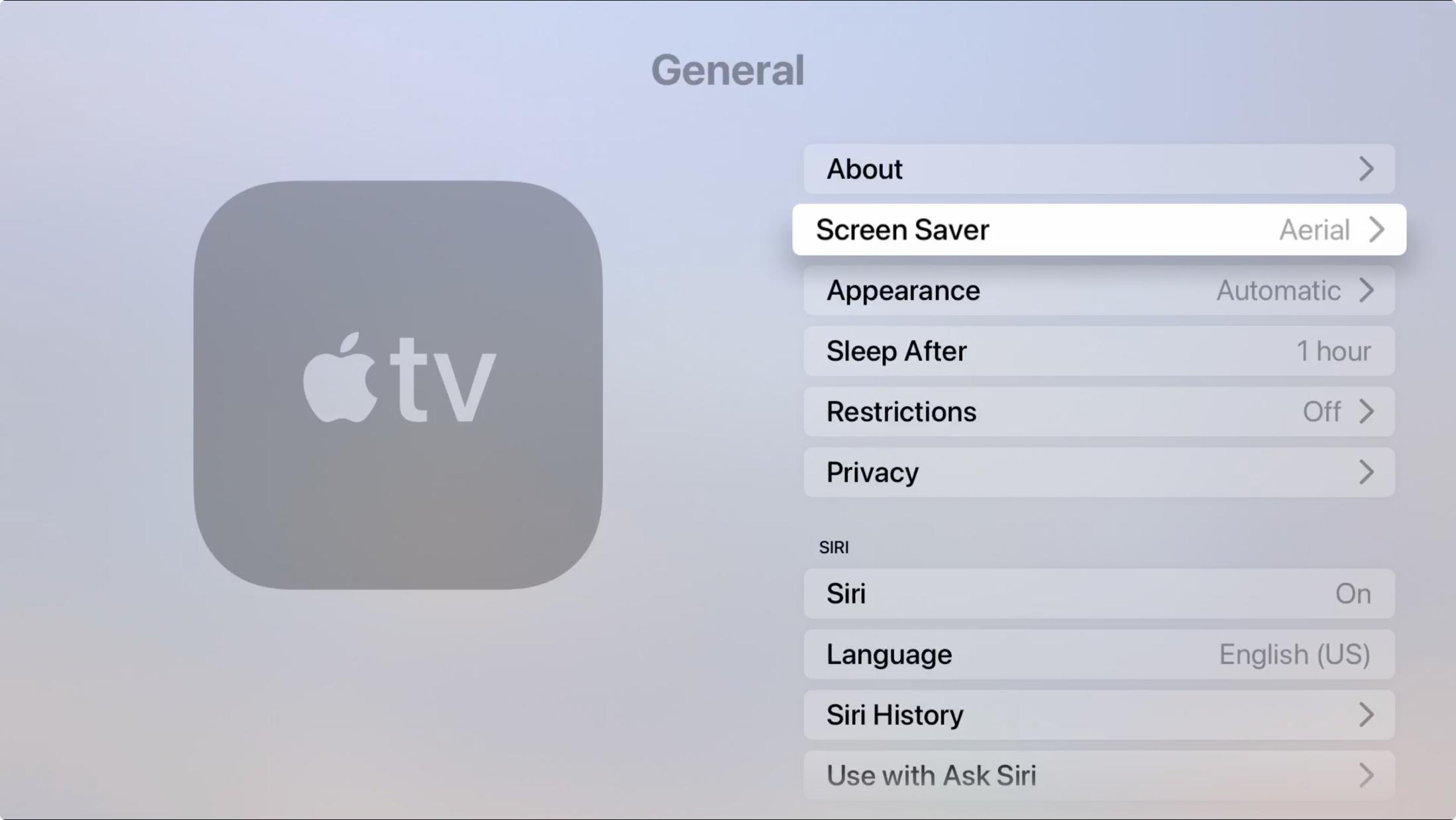 Apple TV Settings General Screen Saver