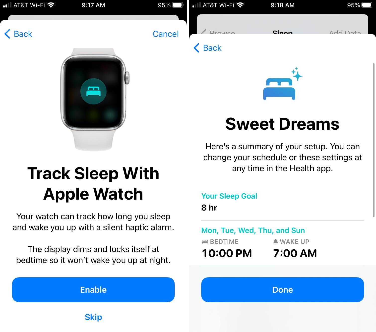 Enable Apple Watch for Sleep