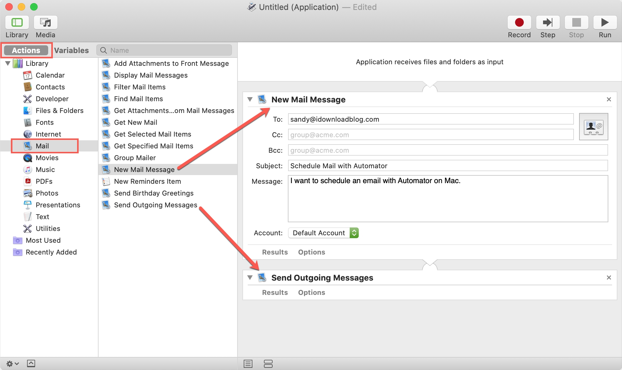 Automator New Mail Message and Send Outgoing Messages
