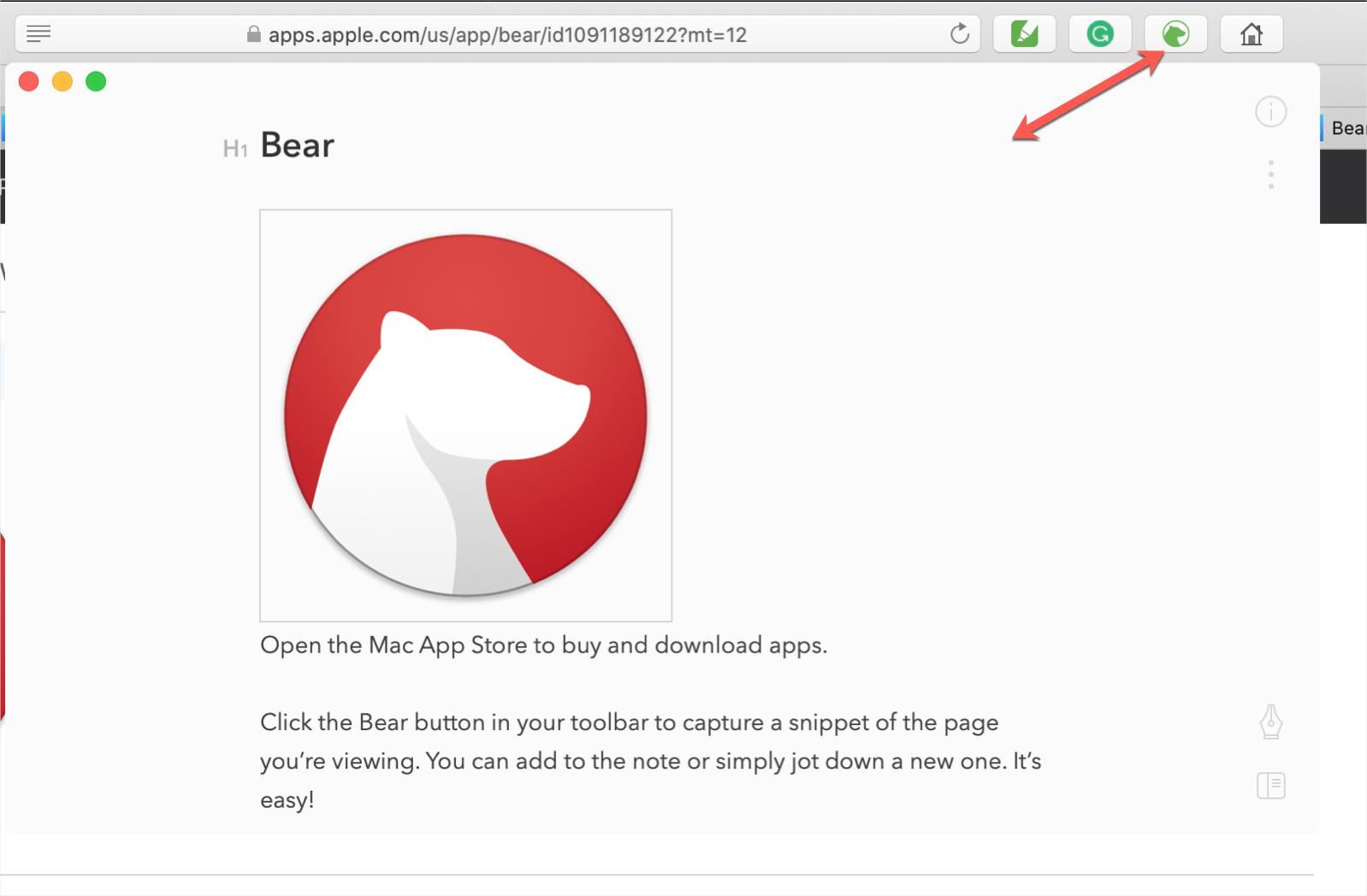Bear Safari Extension for Notes