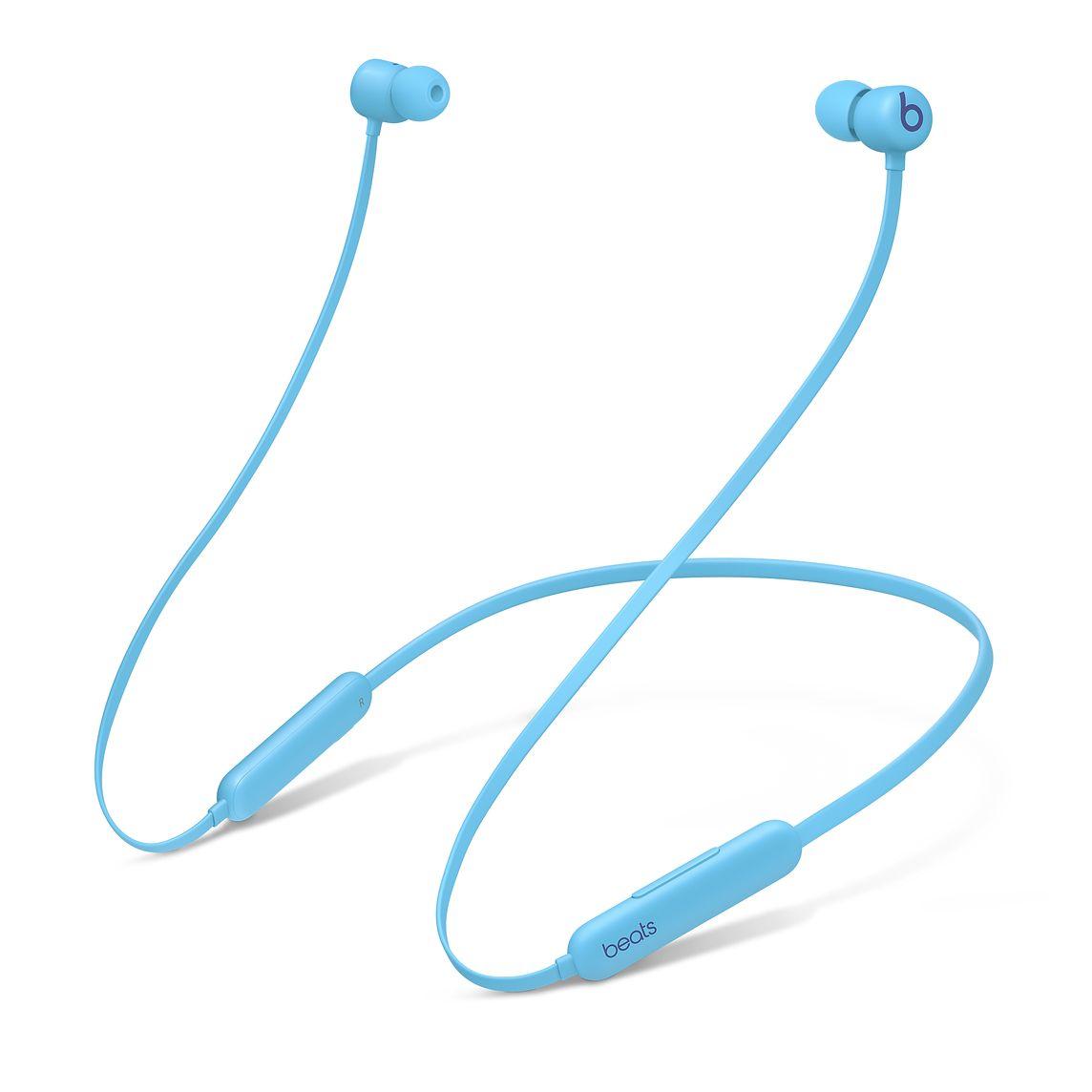 Apple's marketing image showing the Beats Flex wireless earbuds