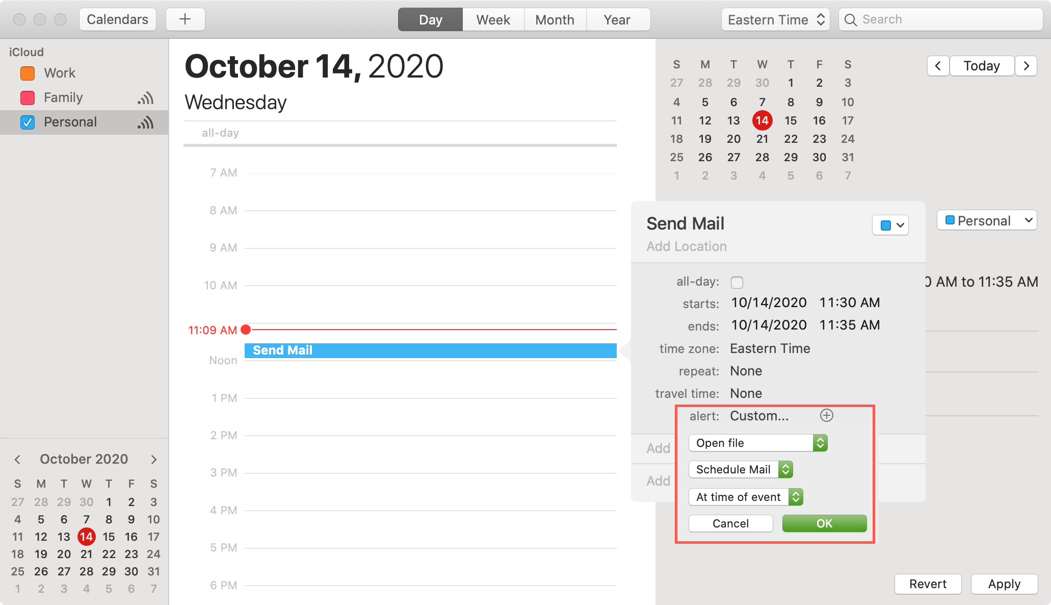 Calendar to Schedule Mail Using the Automator Application