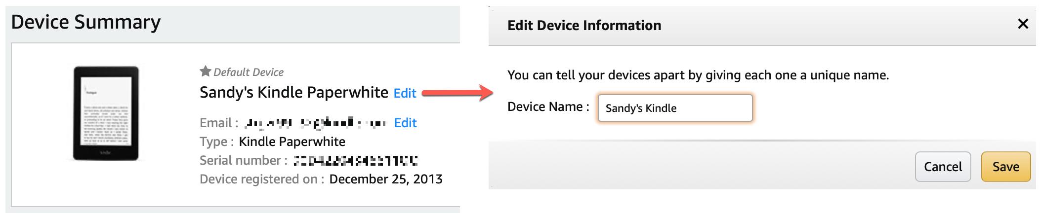 Change Kindle Device Name on Amazon