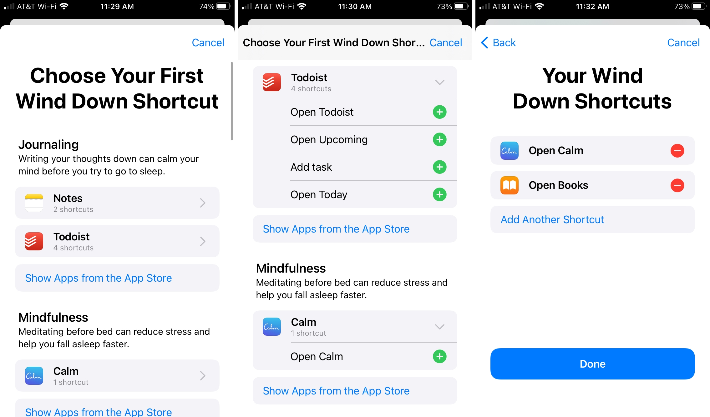 Choose Wind Down Shortcuts