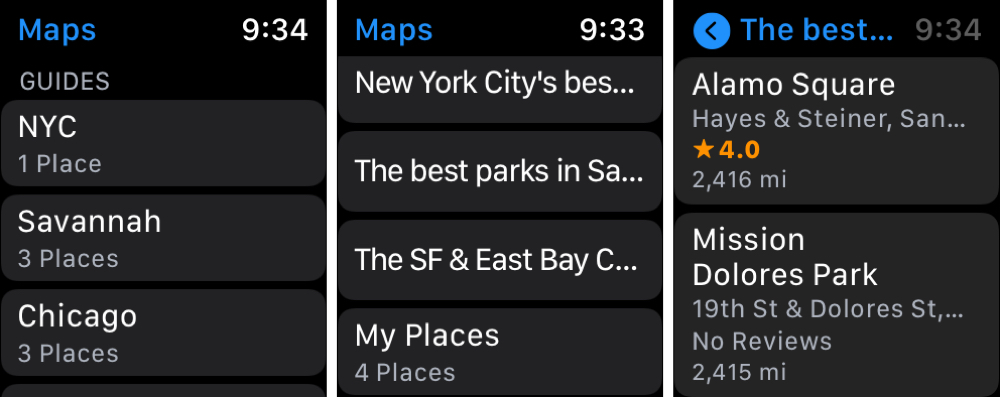City Guides in Maps on Apple Watch
