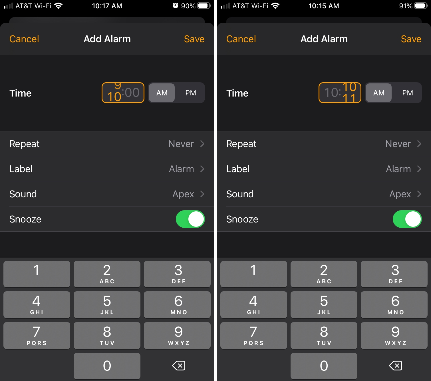Clock Alarm Scroll to Set Time on iPhone