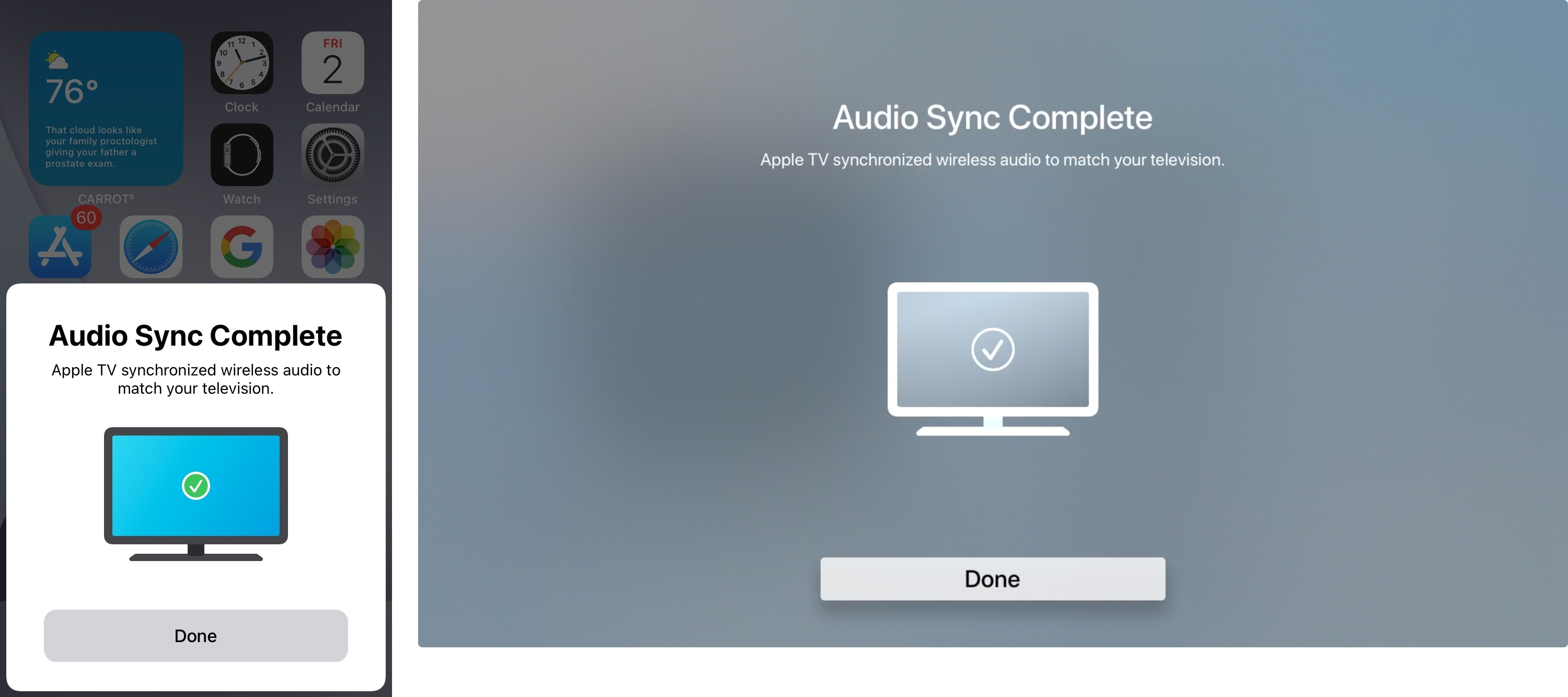 Completed Wireless Audio Sync on iPhone and Apple TV