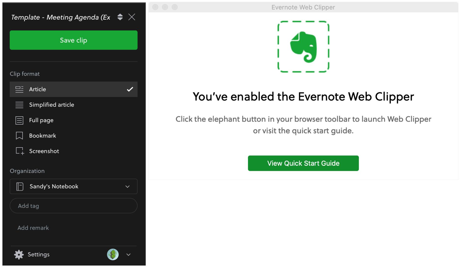 Evernote Web Clipper Safari Extension for Notes