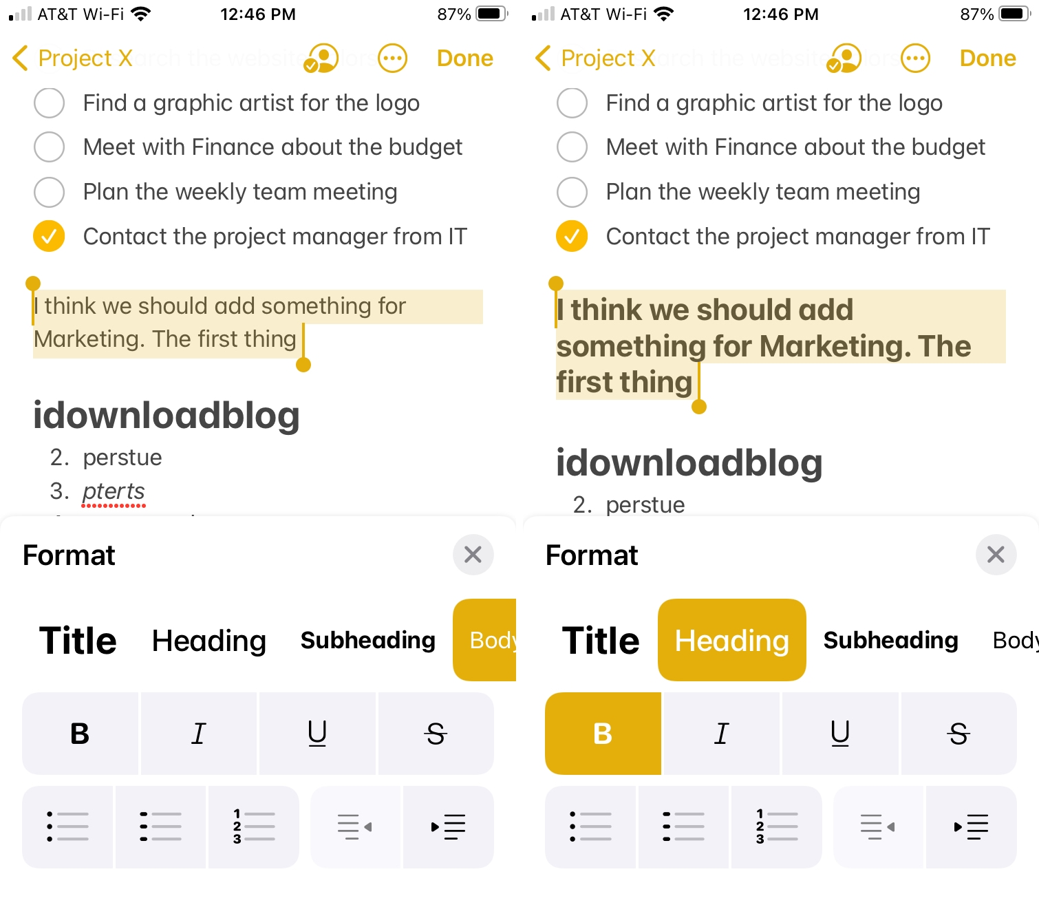Format Text in Notes on iPhone