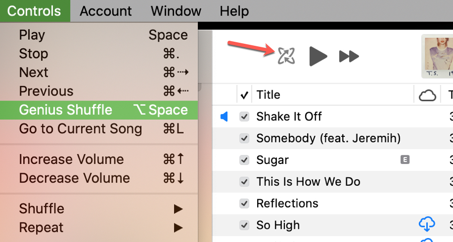 Genius Shuffle in Music on Mac