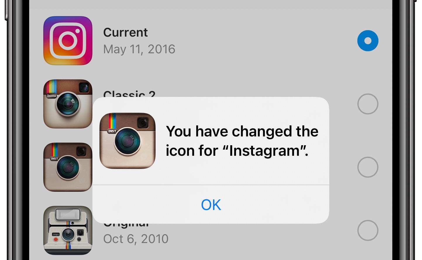 ChangeInstagram icon - confirmation message