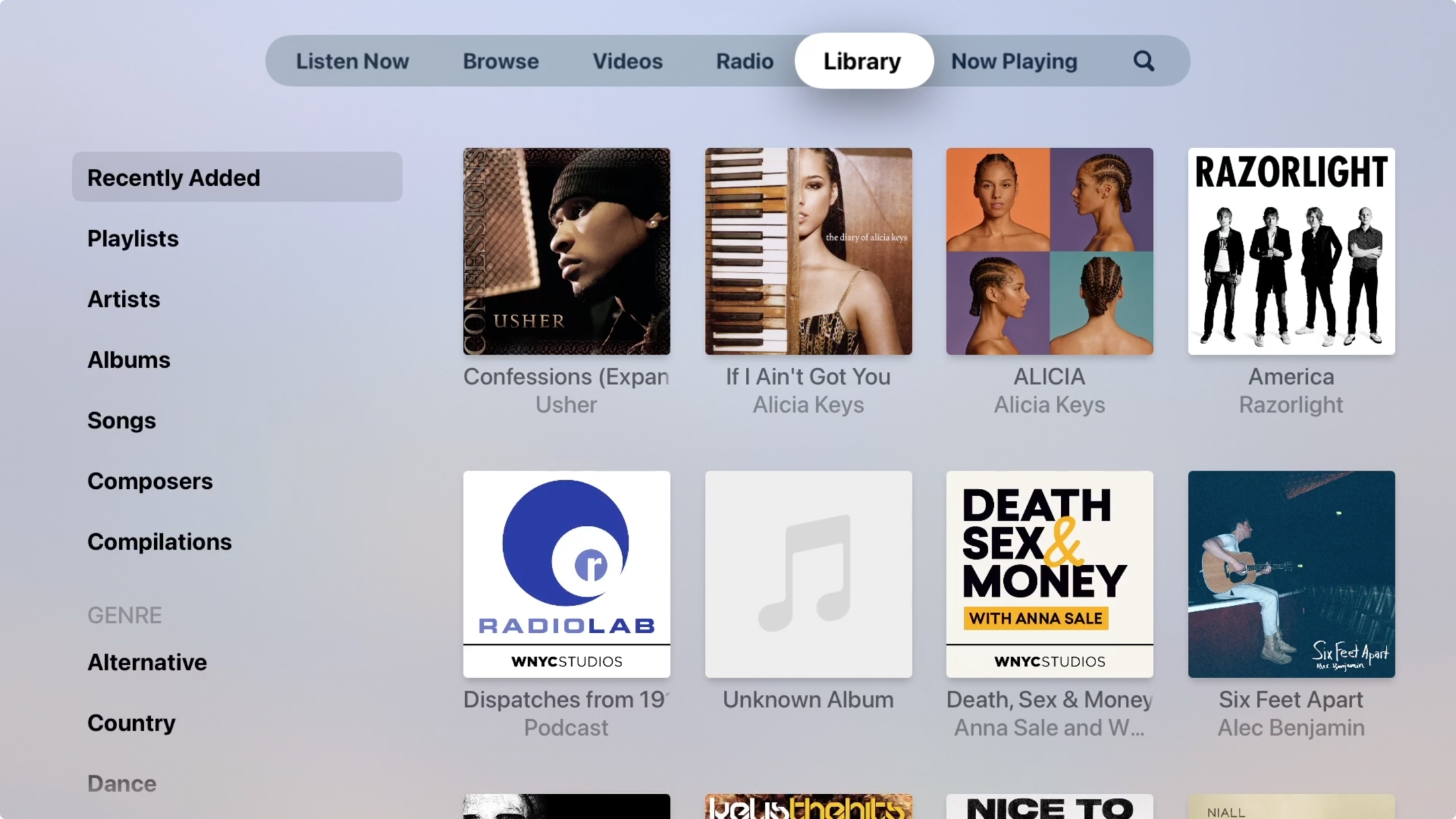 Library in Music on Apple TV