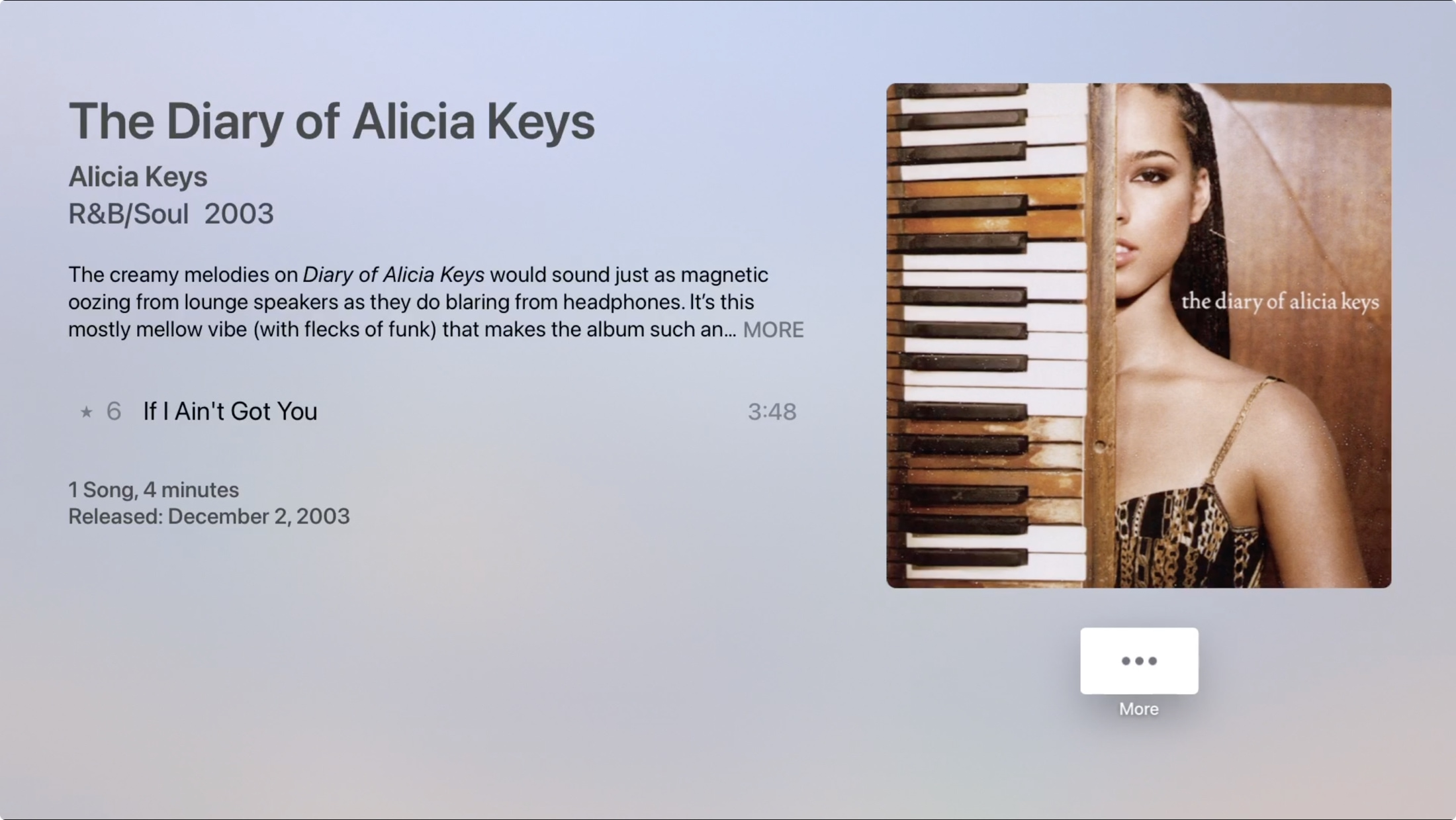 Song in Library in Music on Apple TV