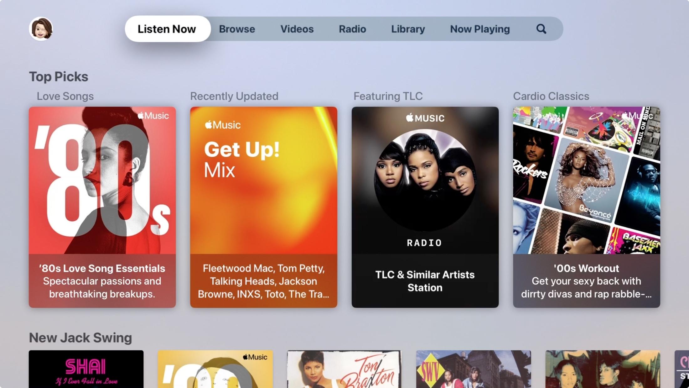Listen Now in Music on Apple TV