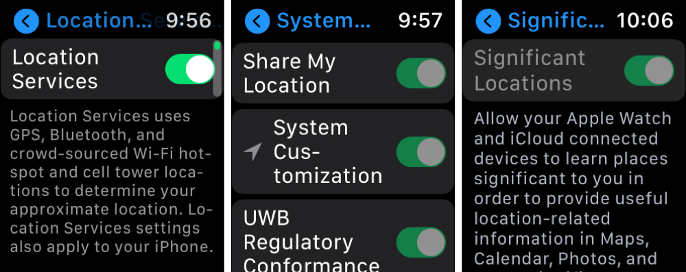 Location Settings Enabled on Apple Watch