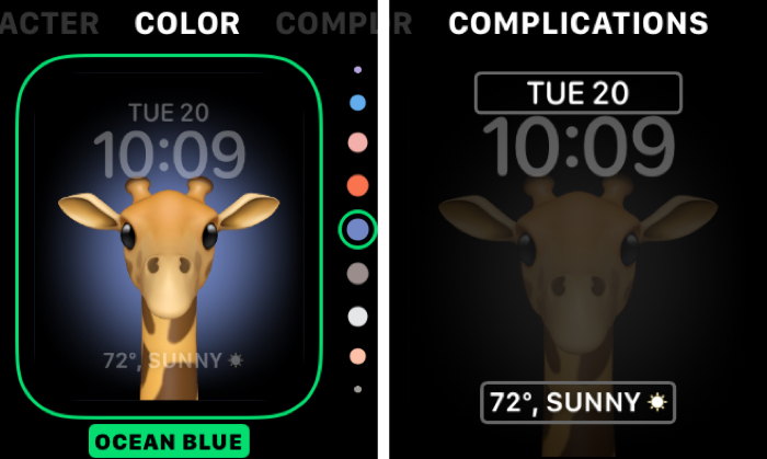 Memoji Watch Face Color and Complications