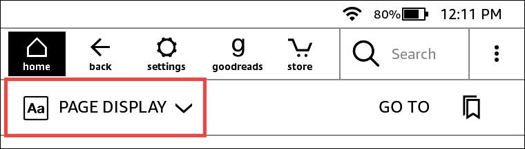 Menu Page Display on Kindle Paperwhite