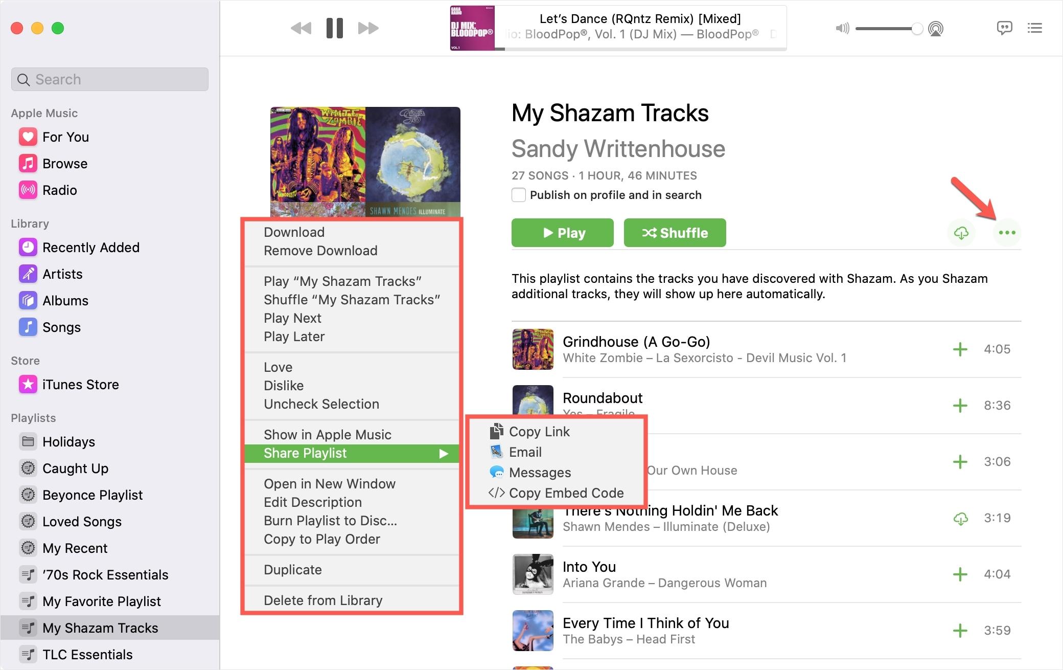 Music on Mac Share Playlist Options