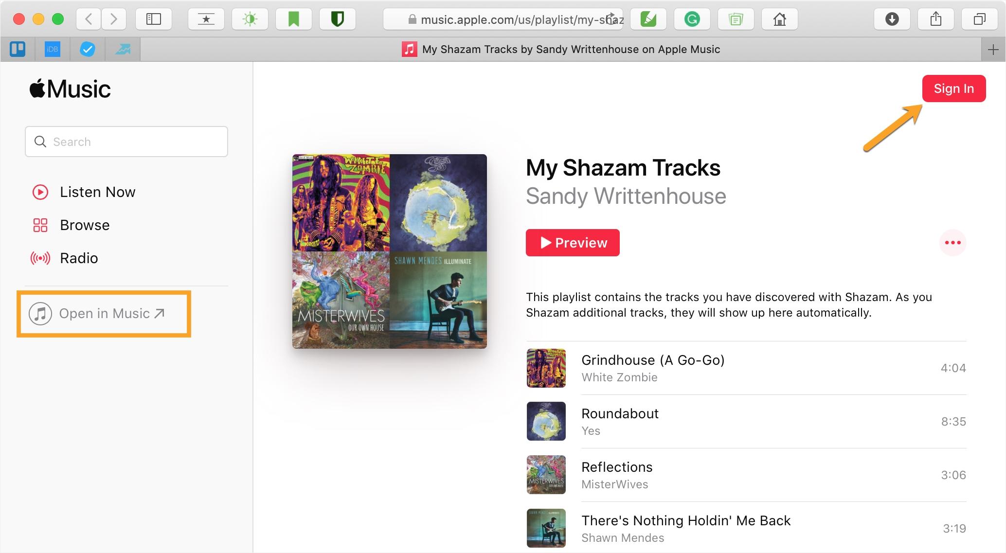 Music Mac Shared Playlist Safari
