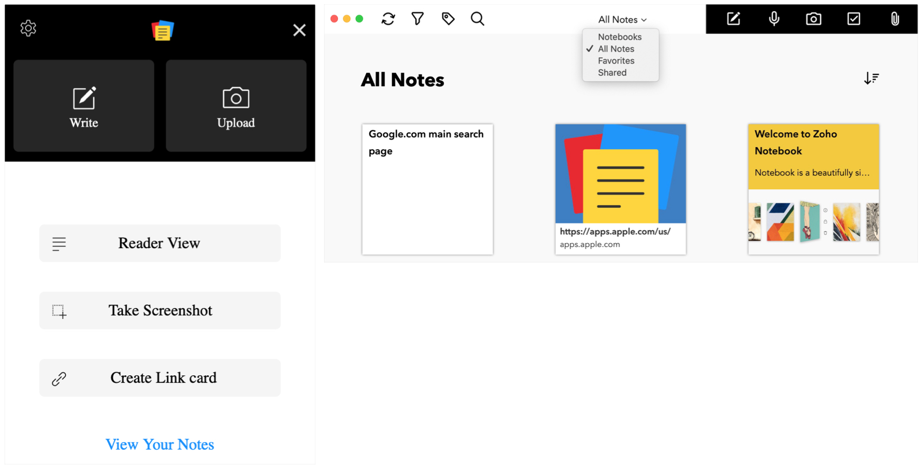 Notebook Zoho Safari Extension for Notes