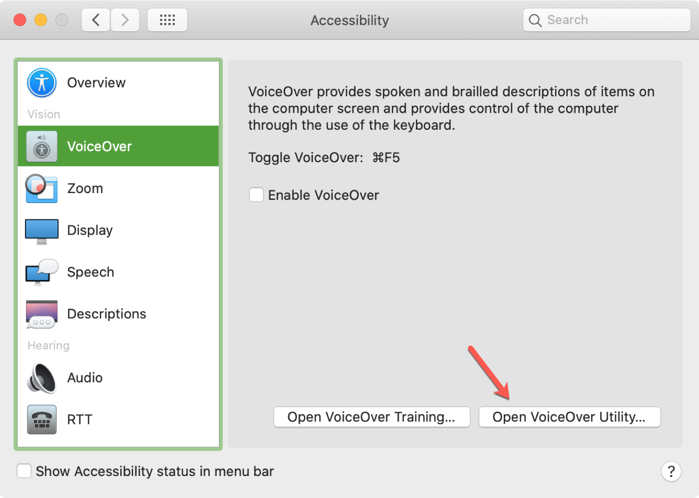 Open the VoiceOver Utility on Mac