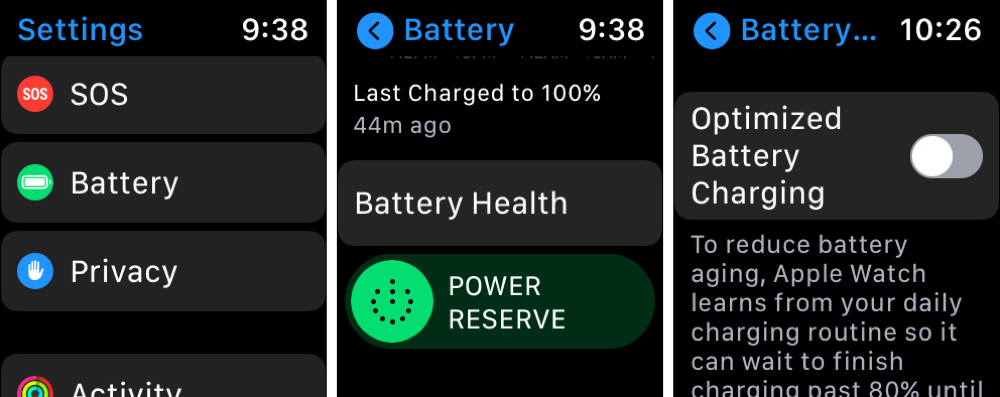 Optimized Battery Charging Disabled on Apple Watch