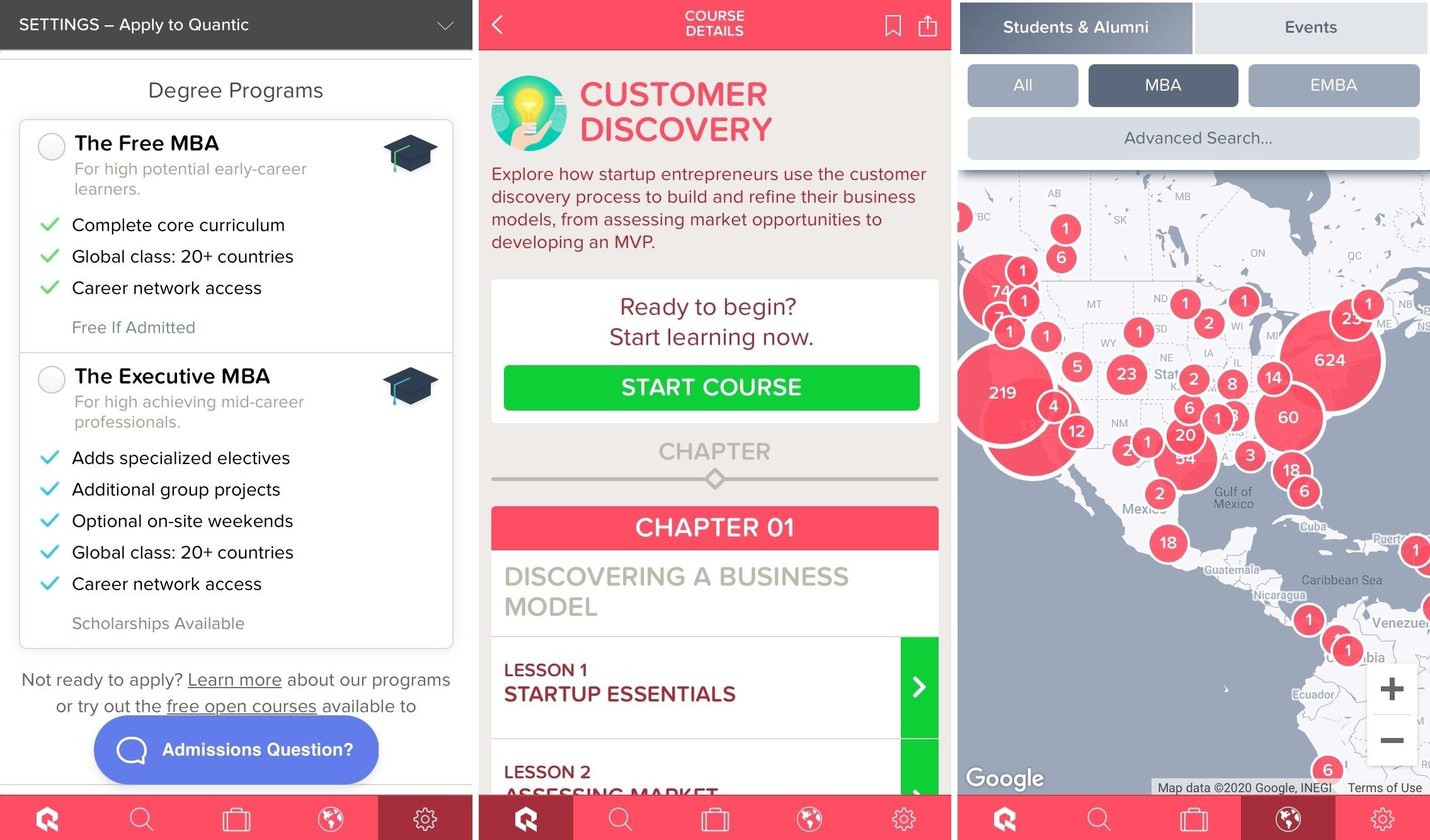 Quantic Business Courses App on iPhone