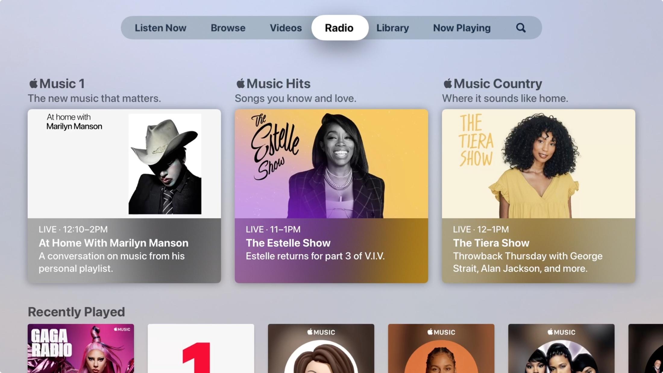 Radio in Music on Apple TV