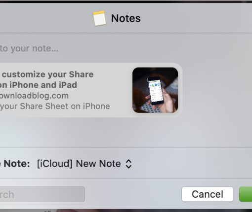 Save From Safari to Notes on Mac