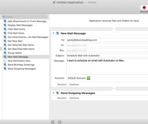 Schedule Mail in Automator on Mac