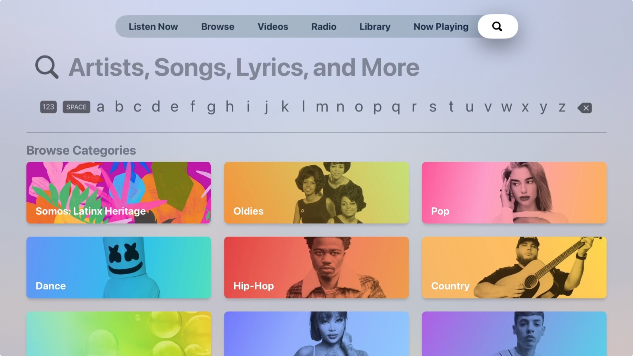 Search Music on Apple TV