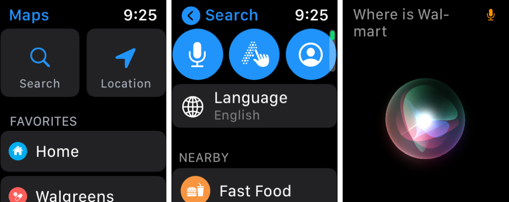 Search Options and Siri in Maps on Apple Watch
