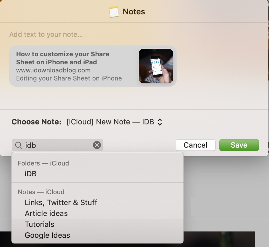Search for a Notes Location in Safari on Mac