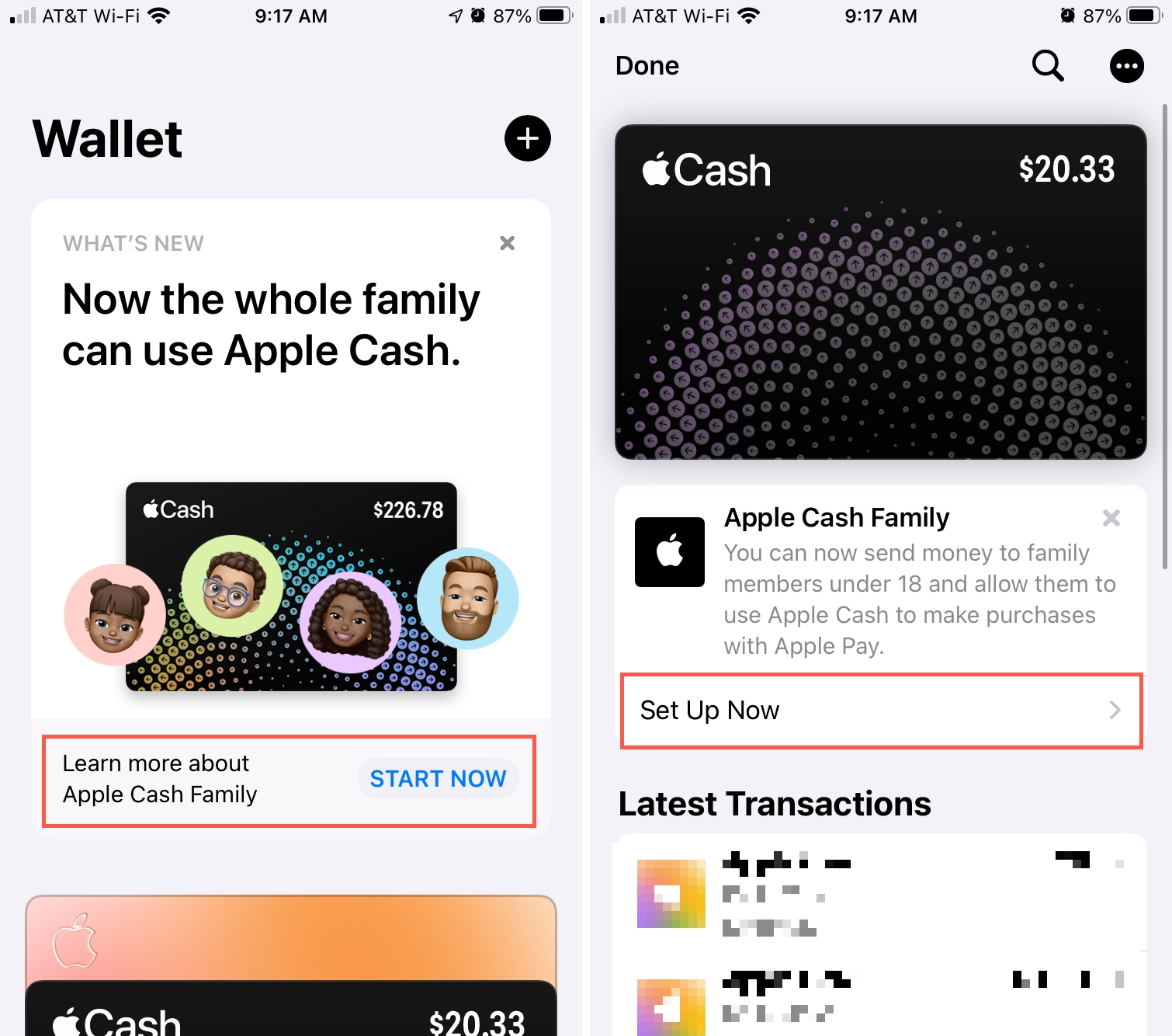 Set Up Apple Cash Family from Wallet