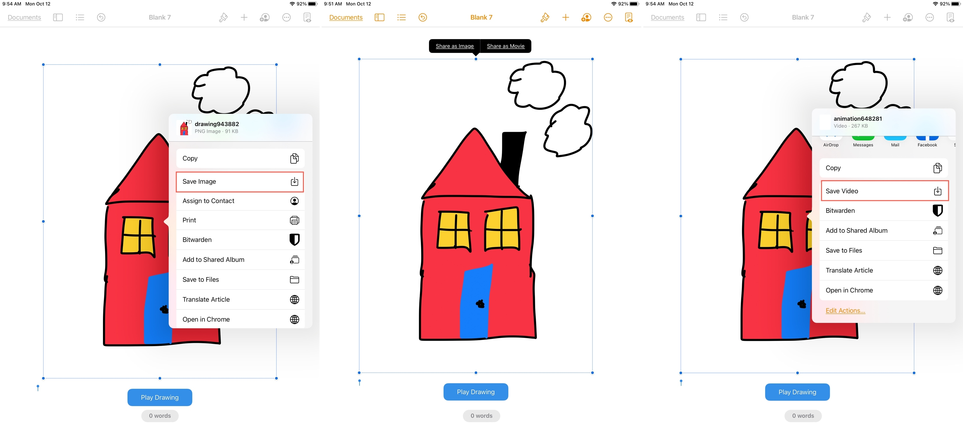 Share or Save a Drawing in Pages on iPad