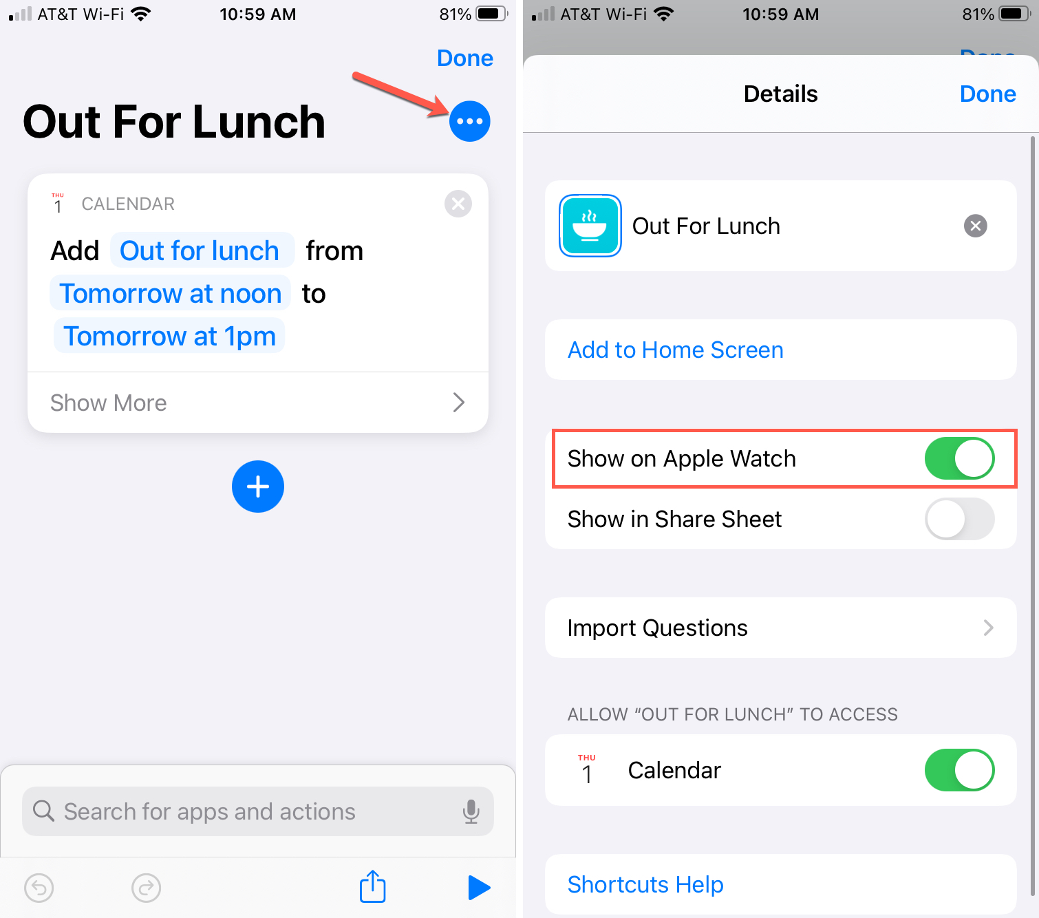 Show Shortcut on Apple Watch iPhone