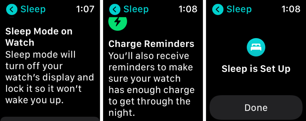 Sleep Set Up on Apple Watch
