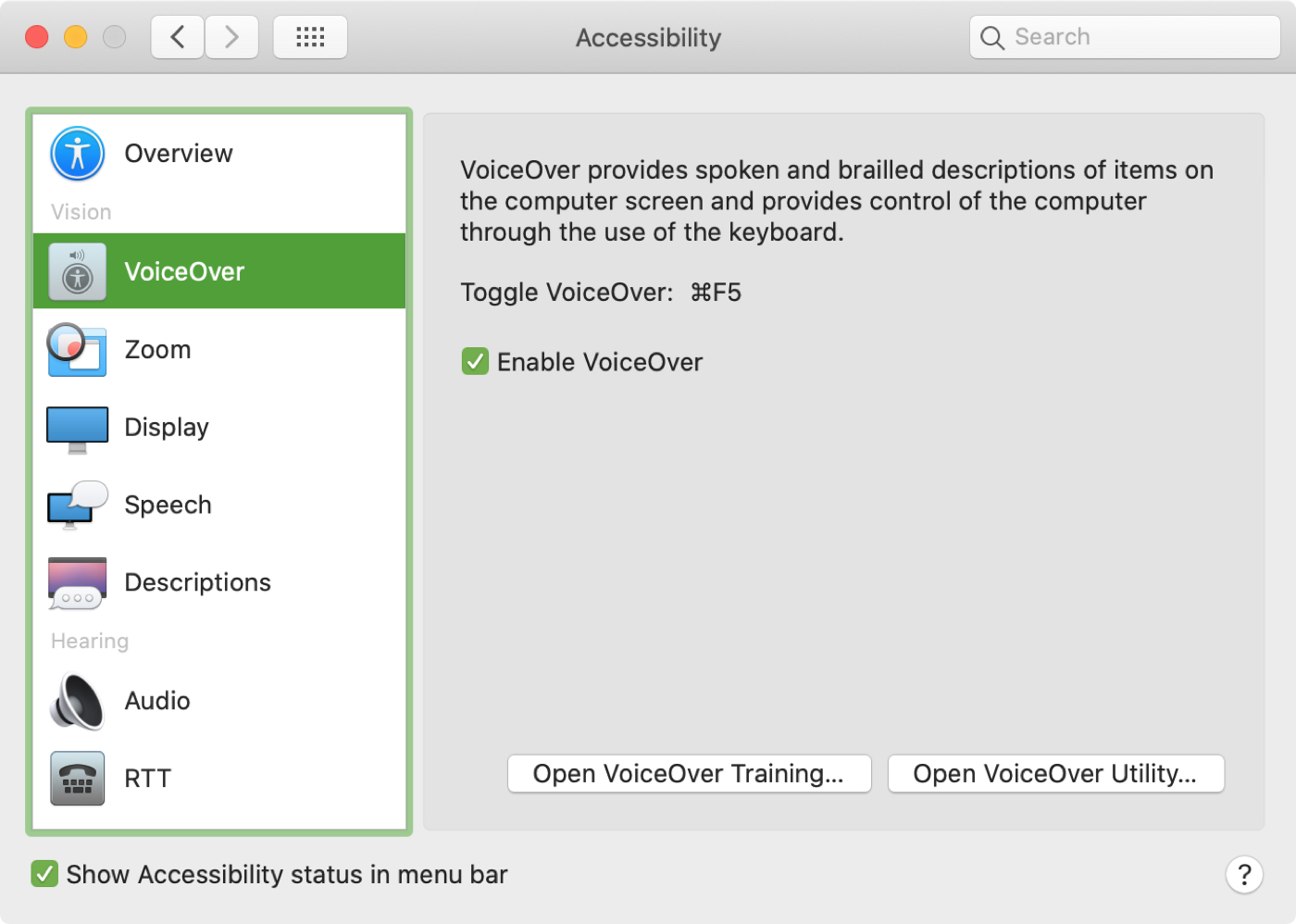 System Preferences Accessibility Section with VoiceOver On