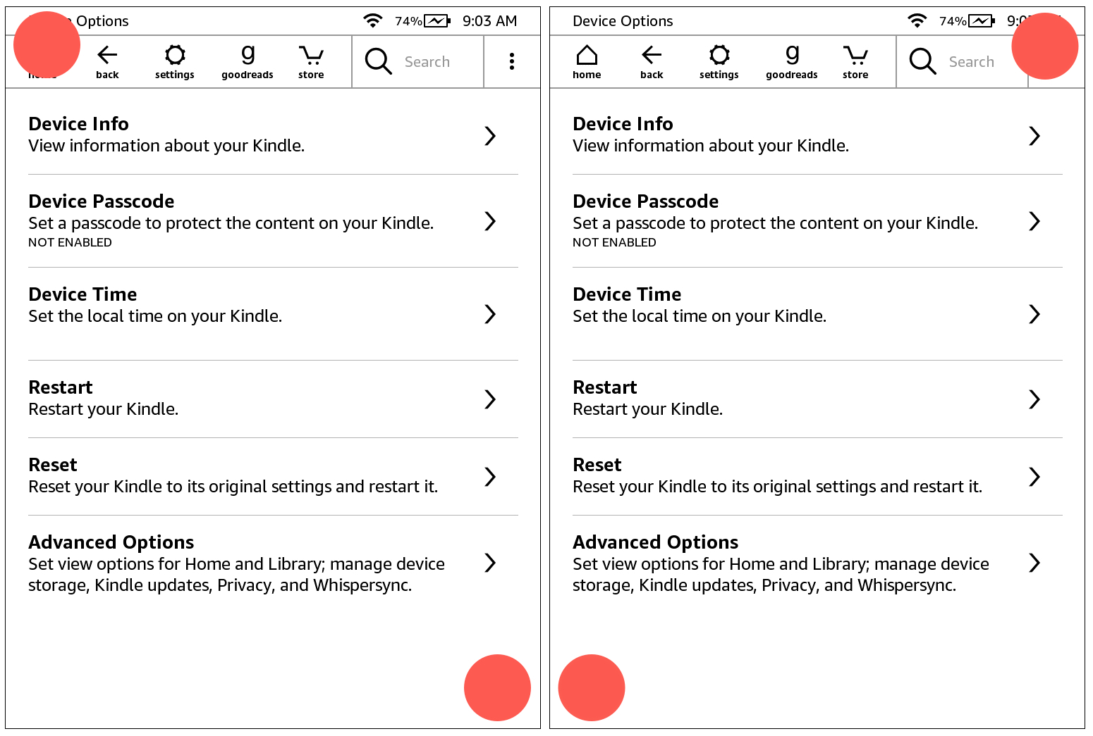 Take Kindle Screenshot Finger Positions