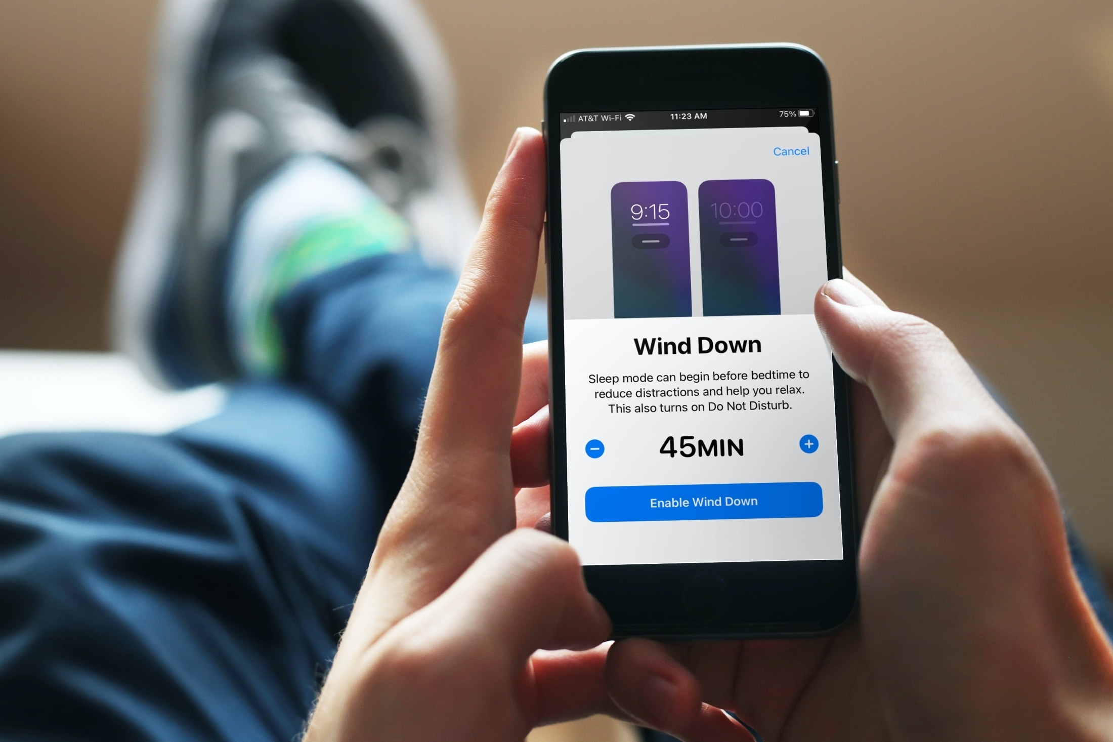 Timing for Wind Down on iPhone